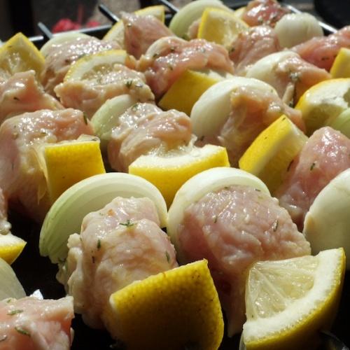 Brochettes de dinde au citron